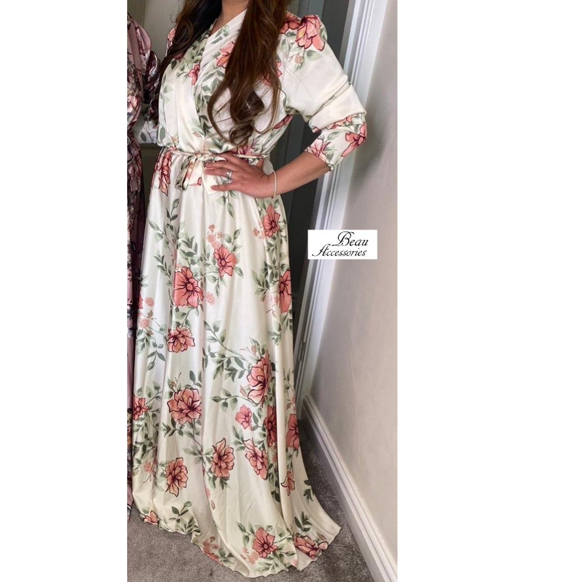 Image of Digital Floral Print Satin Gown - ALL colours