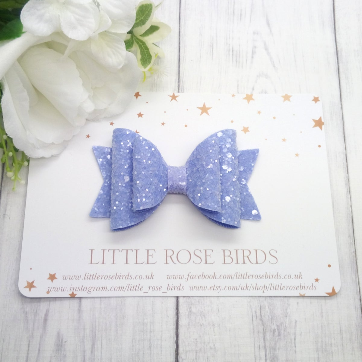 Image of Lilac Glitter Bow - Choice of Headband or Clip