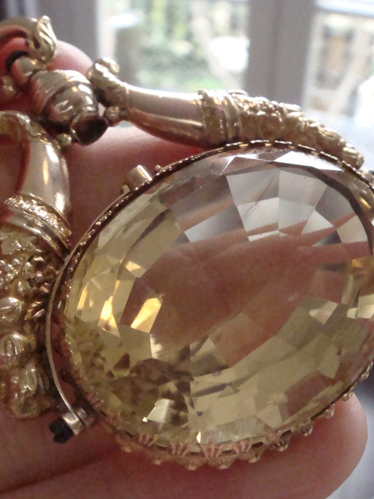 Image of Victorian high carat natural oversized citrine swivel fob 27g 40ct+