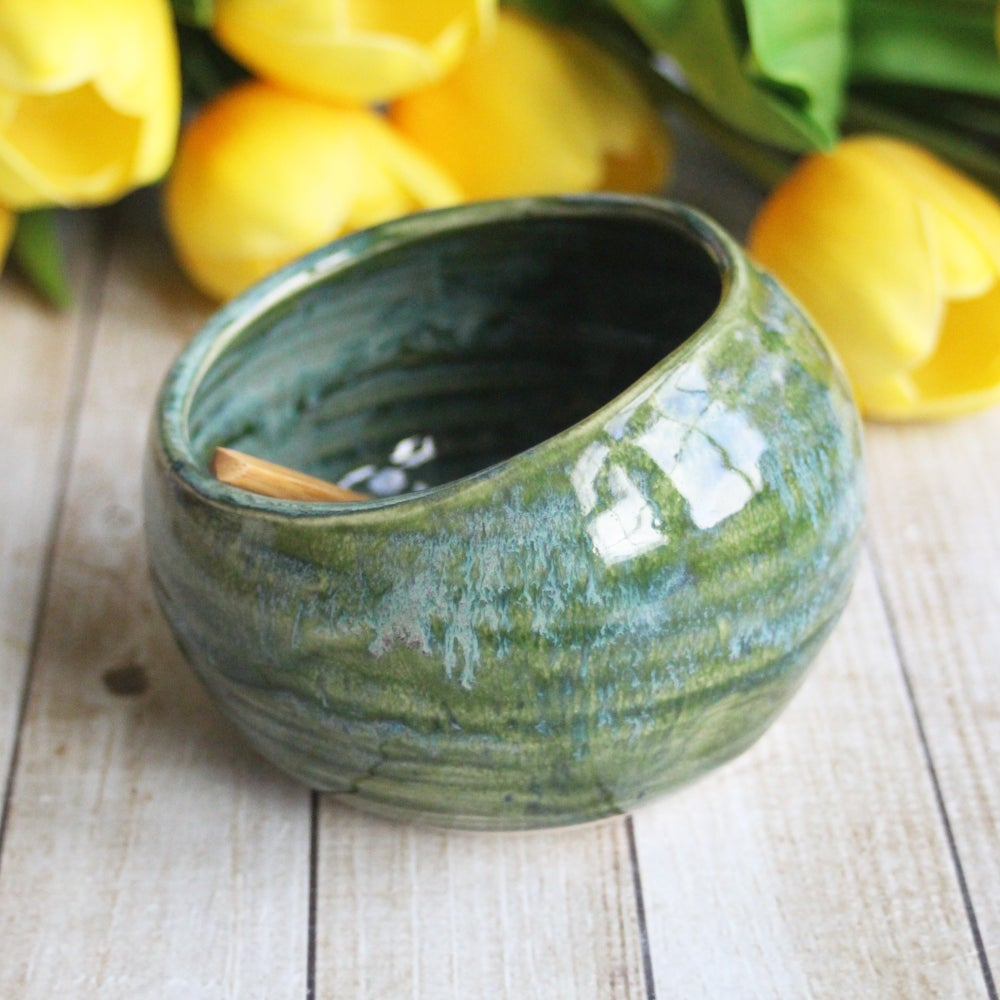 Image of Salt Cellar in Rustic Green Glaze, Handcrafted Pottery Salt Pig, Made in USA