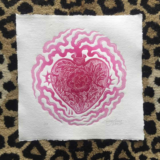 "Image of 'Heartfelt"" Original Woodblock Print - Pink Fade"
