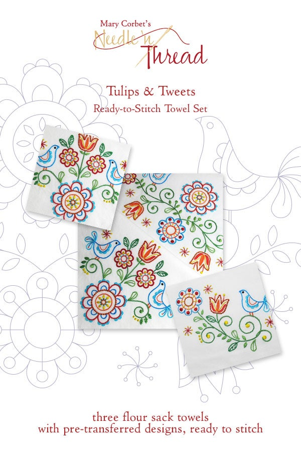 Image of Tulips & Tweets Ready to Stitch Towel Set