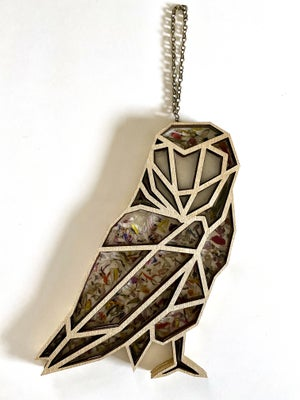 Image of Geometric Owl Window Hanging with Pressed Flowers