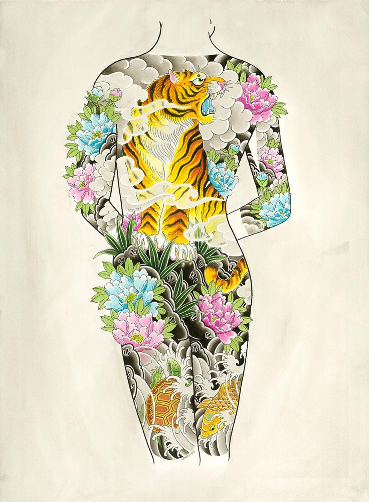 Image of Woman Tiger back piece