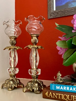 Image of Vintage pair of  brass and lucite Candlestands with clear glass ruffled votive