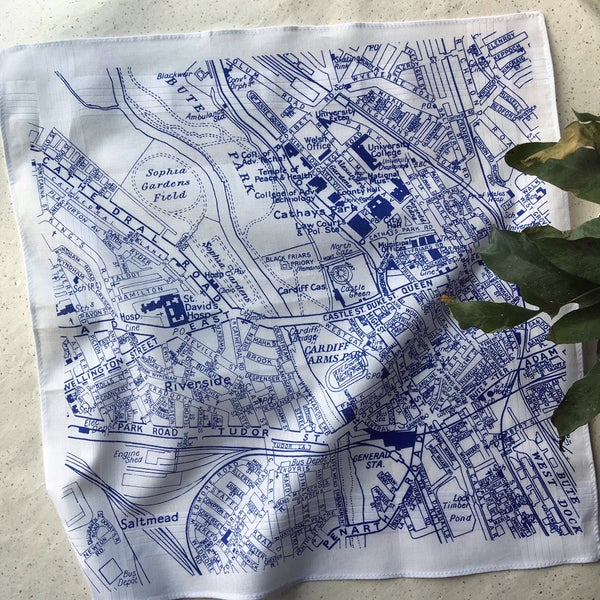 Image of Cardiff Vintage Map Hankie