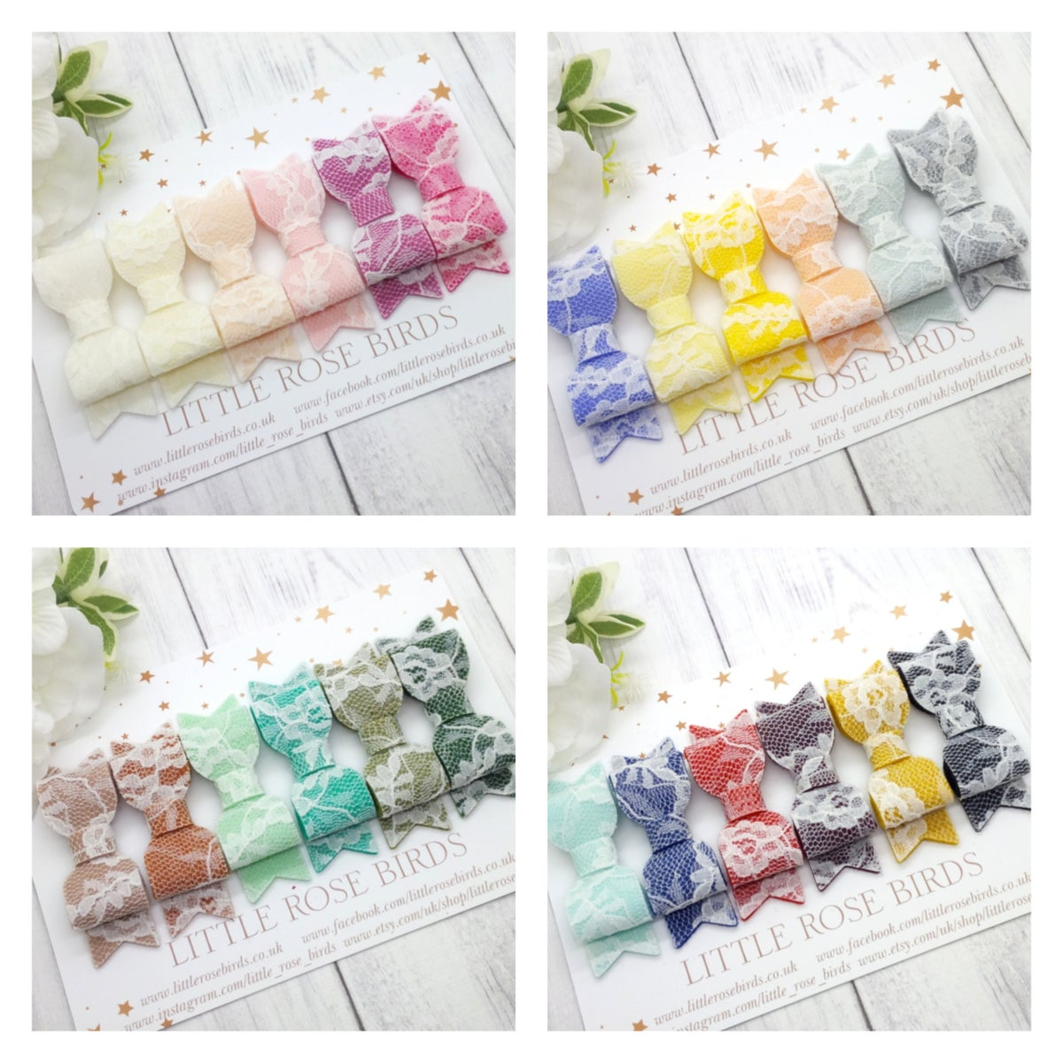 "Image of CHOOSE YOUR COLOUR - Lace Felt Bow (2.5"") - Choice of 24 Colours"