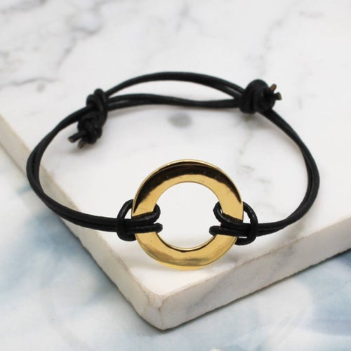 Image of Vermeil Gold Circle of Love Round Black Leather Bracelet