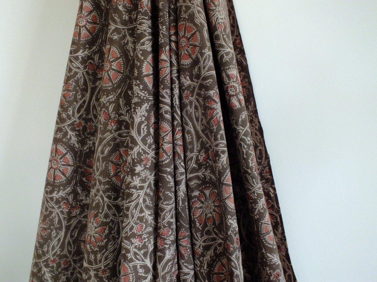 Image of Namasté fabric kalamkari coton bio chocolat et rose