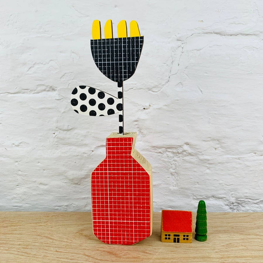 Image of Four Stamen - Various Colours Spotty Grid Wooden Hands Screen Printed Flower
