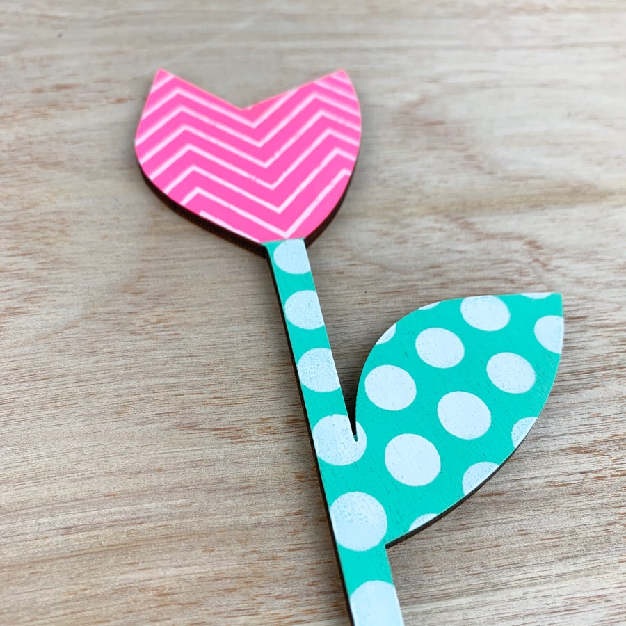 Image of Neon Pink and Mint Green Tulip Hand Screen Printed Wooden Flower