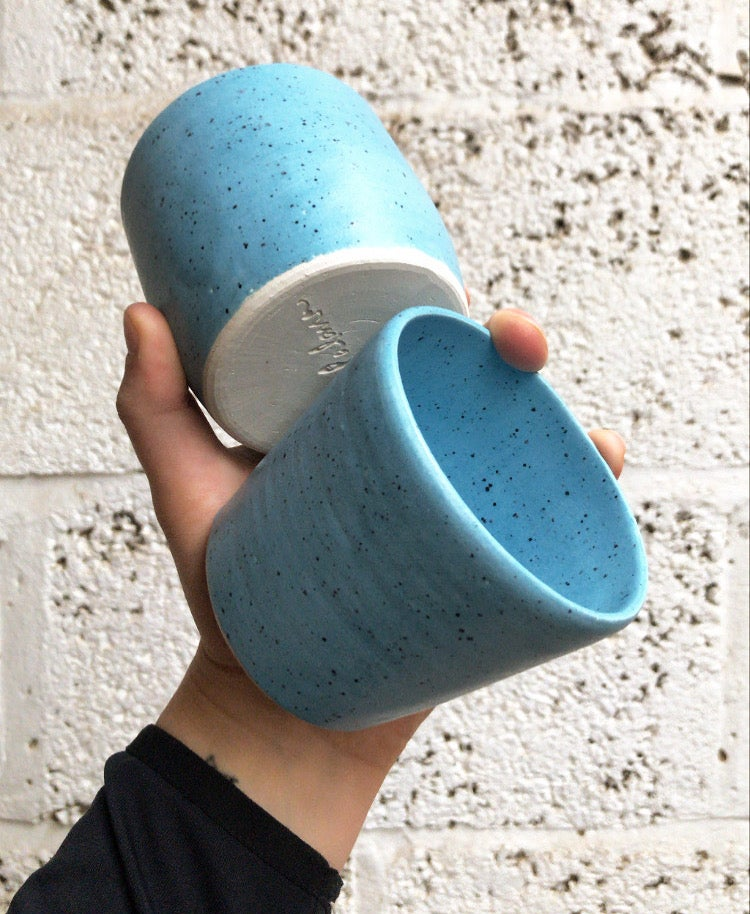 Image of Blue with black speckle tumbler set