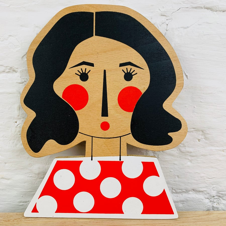 Image of Wavy Haired Girl Hand Screen Printed Wooden Wall Plaque