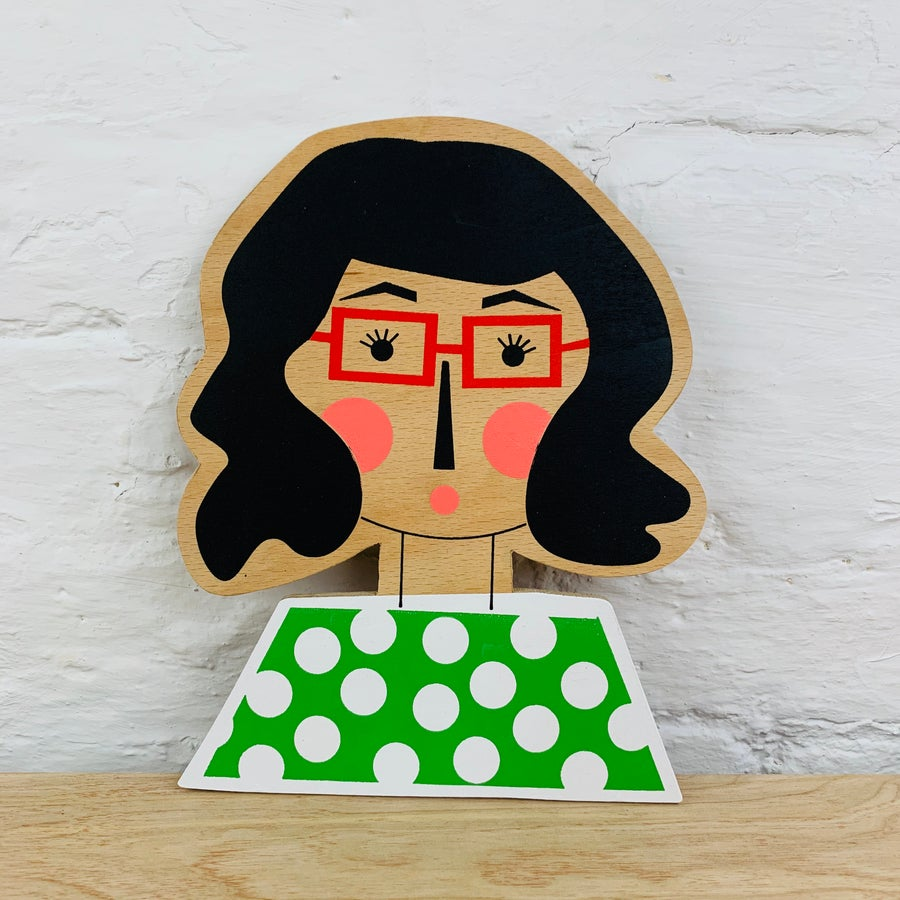 Image of Wavy Hair with Glasses Girl Hand Screen Printed Wooden Wall Plaque