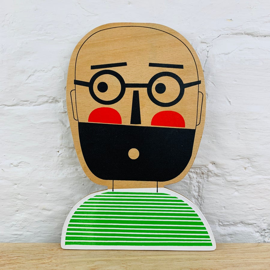 Image of The Bearded Man with Glasses - Hand Screen Printed Wooden Wall Plaque