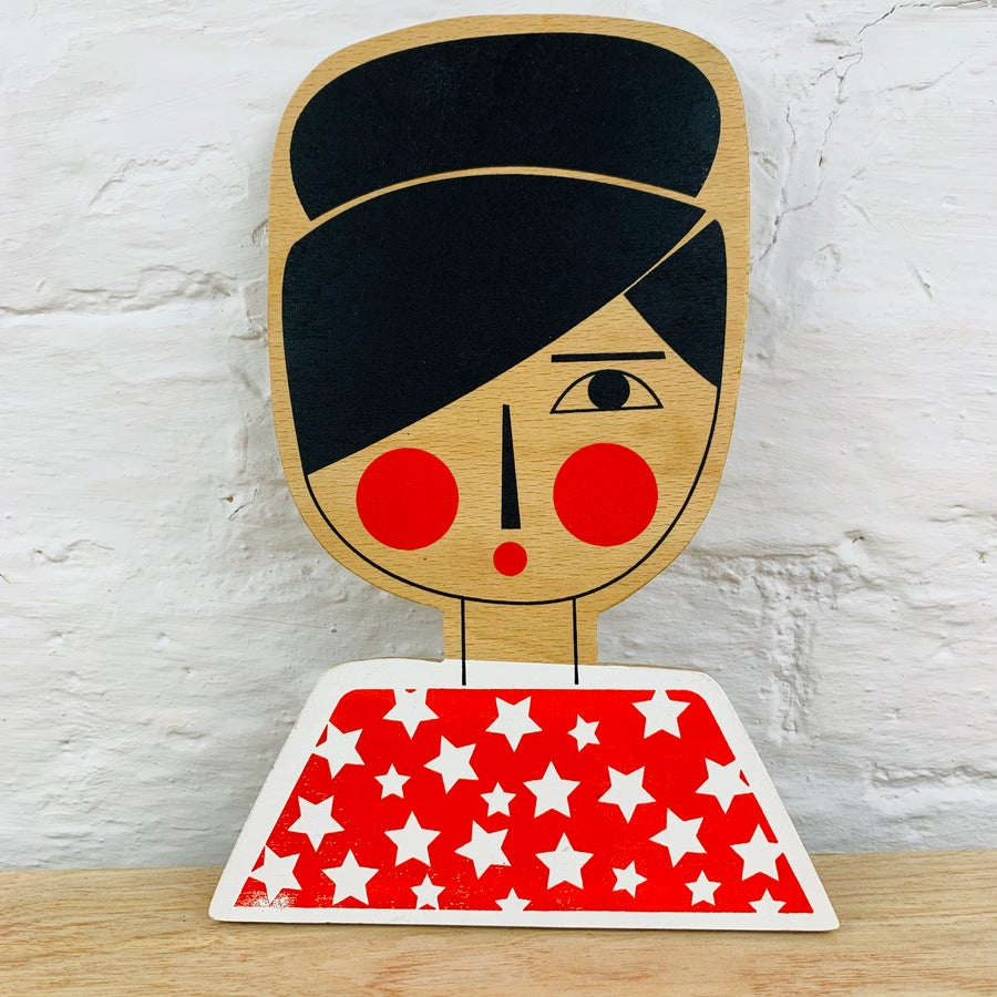 Image of Miss Updo - Hand Screen Printed Wooden Wall Plaque