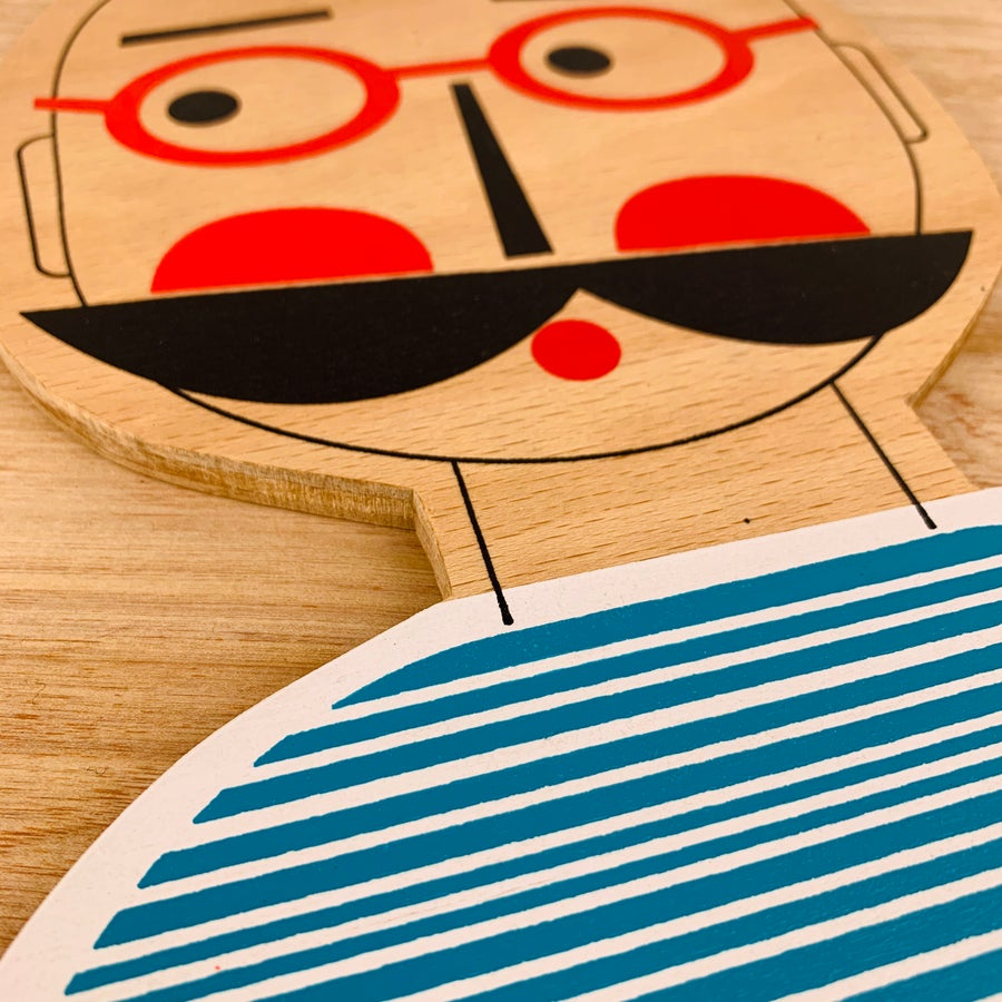 Image of Mr Moustache Hand Screen Printed Wooden Wall Plaque
