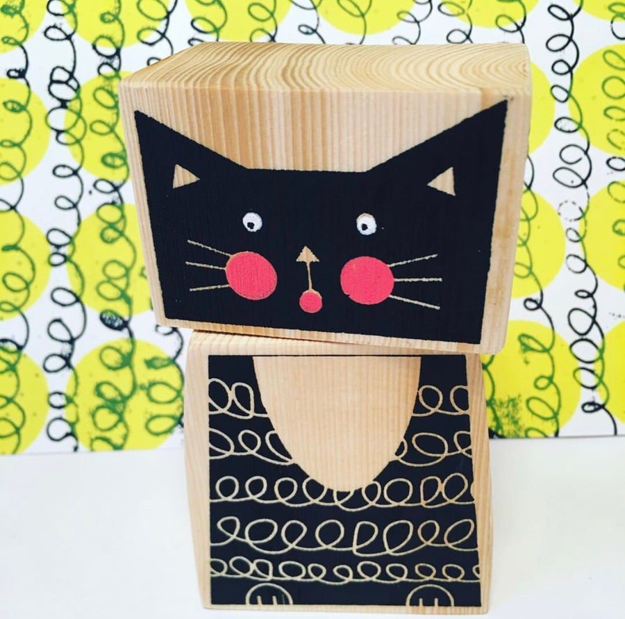 Image of Stackable Wooden Kitty Cat - Hand Screen Printed Wooden Blocks