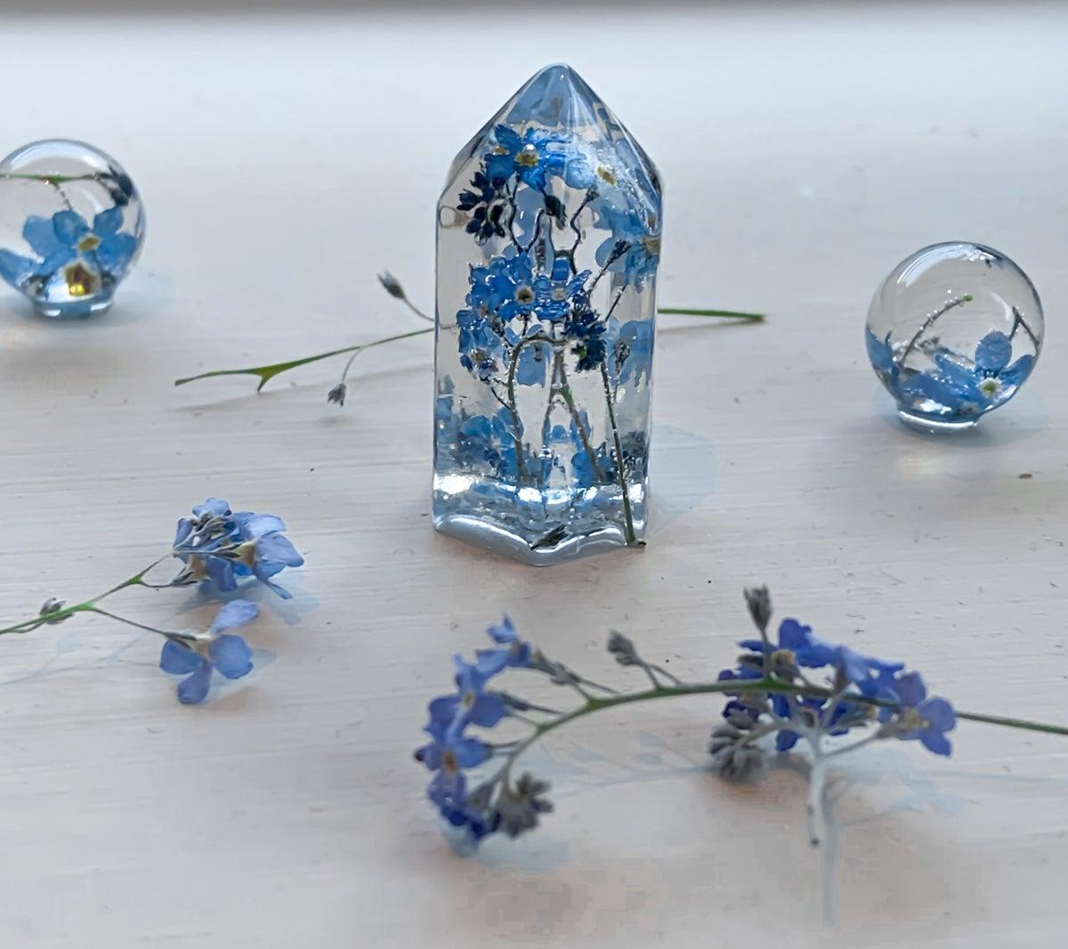 Forget Me Not resin crystal