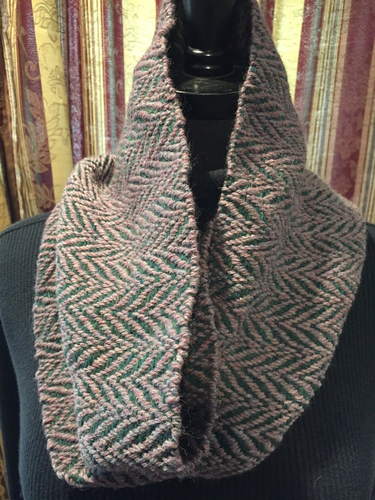 Image of Handwoven Purple/Green Wool Cowl (Item # 20135)