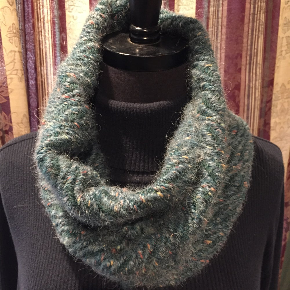Image of Handwoven Green Fuzzy Cowl (Item # 20136)