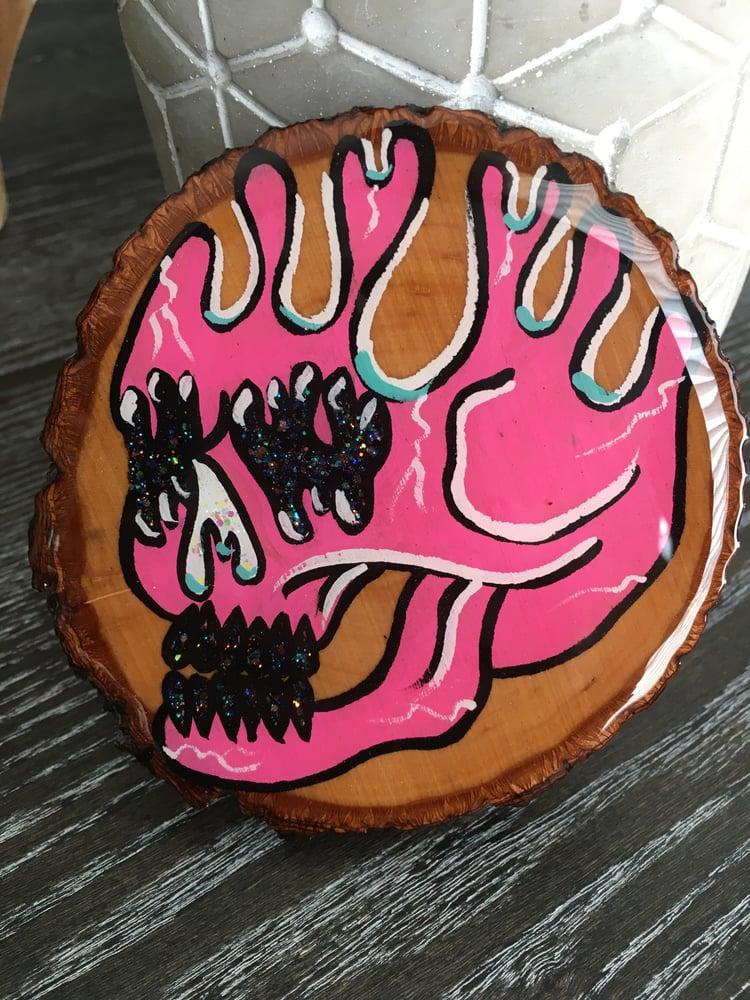 Image of Pink drippy skull