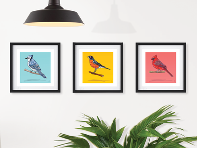 Image of North American Birds (set of three 8x8)