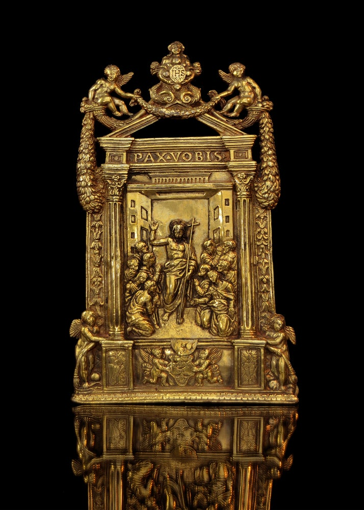 Image of An elaborate gilt bronze pax of the Risen Christ, dated 1557, possibly by Lautizio da Perugia
