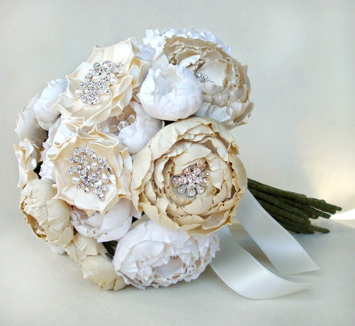 Image of Ivory, Off White and Cream Silk Catala and Jeweled Bloom Bridal Bouquet