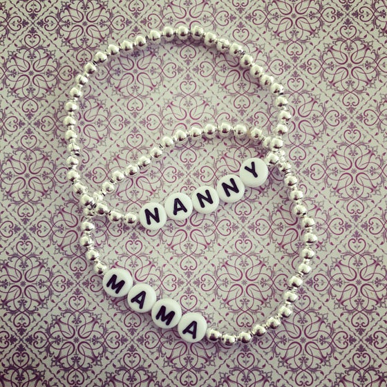 Image of Personalised Silver Bead Bracelet