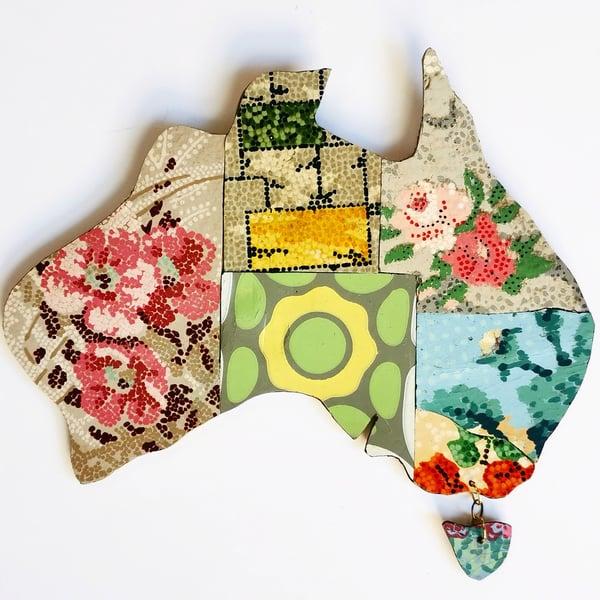 Image of Small Vintage Lino Map of Australia