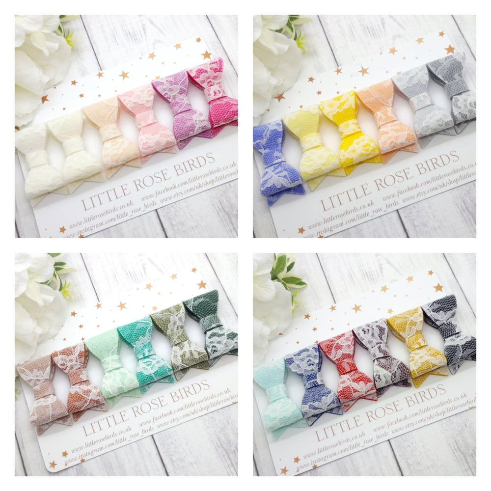 "Image of CHOOSE YOUR COLOUR  - Lace Felt Bows 2"" - Choice of 24 Colours"