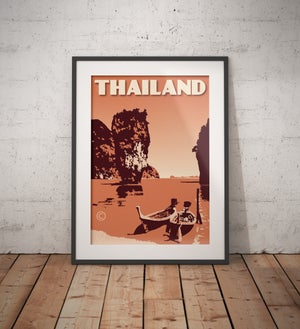 Image of Vintage poster Thailand - Phang Nga Bay Peach - Fine Art Print