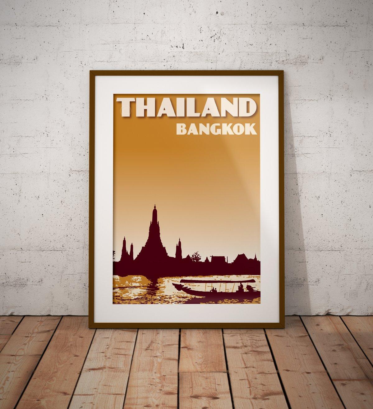 Image of Vintage poster Thailand - Bangkok - Wat Arun Mustard color - Fine Art Print