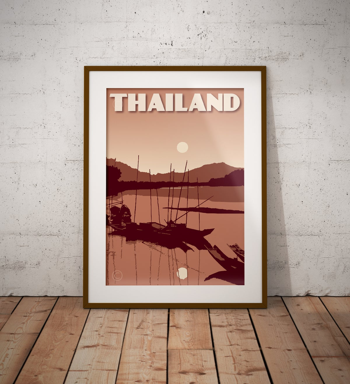 Image of Vintage poster Thailand #River Sunset Terracota color