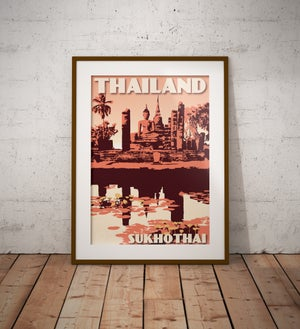 Image of Vintage poster Thailand - Sukhotai Coral - Fine Art Print