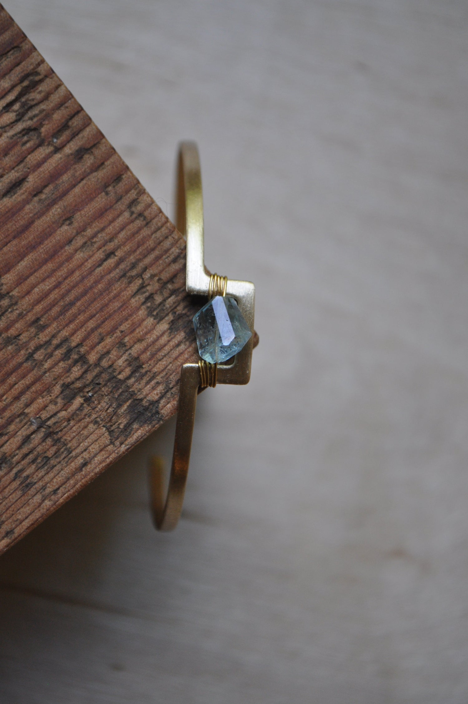 Image of The Journey Cuff - Brass and Aquamarine