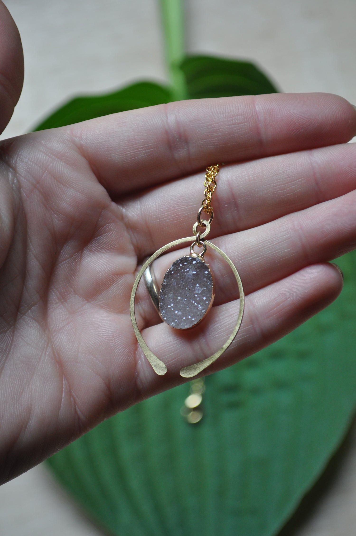 Image of The Whole World in His Hands Necklace - in Mauve Druzy