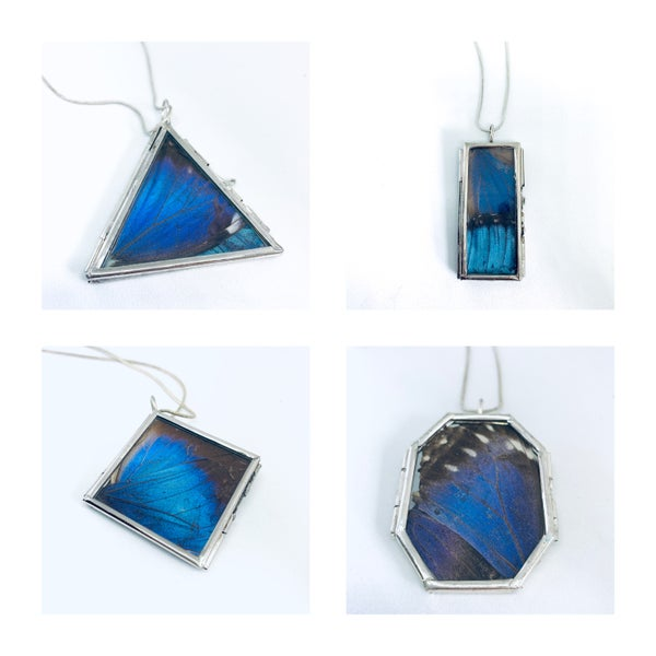 Image of Blue Morpho Silver Winged Lockets