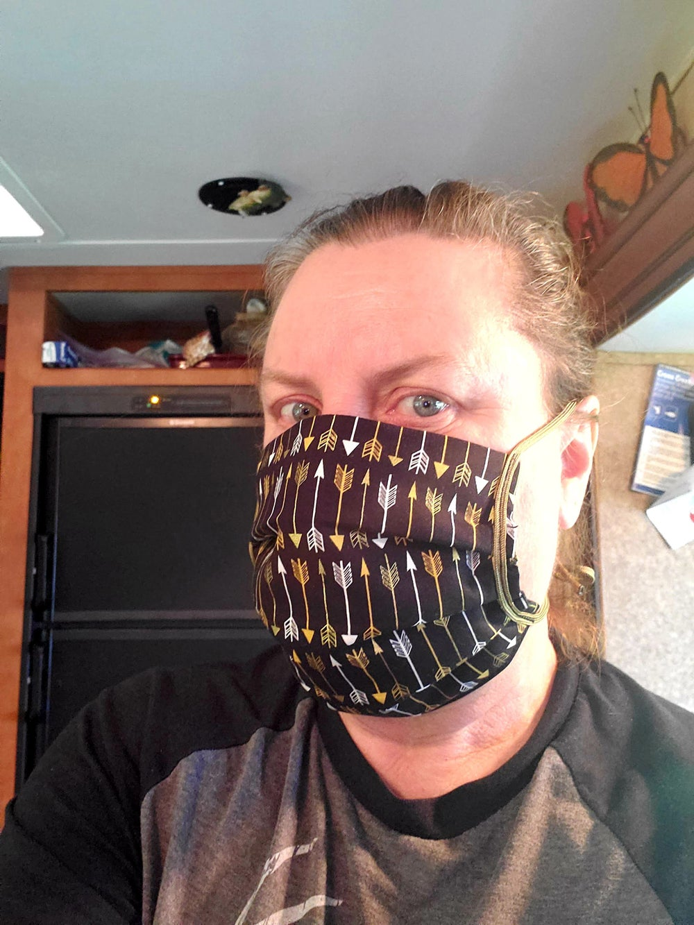 Black with Gold Arrows! - Hand Sewn Designer Face Mask