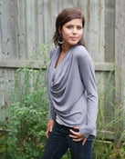 Image of Wraparound cardigan with draped neckline