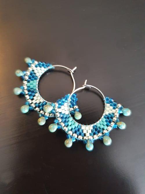 Image of Créoles inox bleues