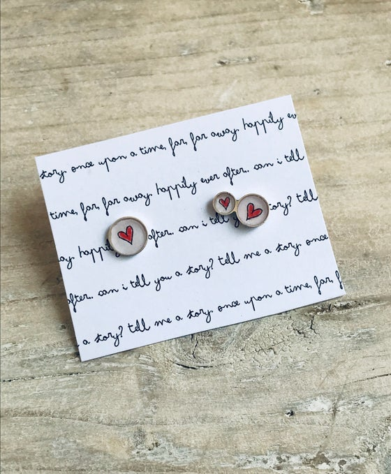 Image of Offset Red Heart Studs