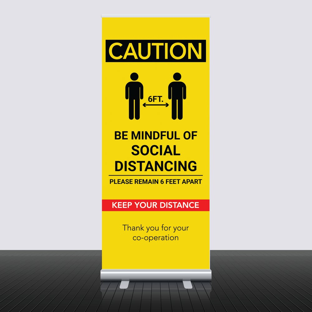 Image of Social Distance Pull Up Roller Banners