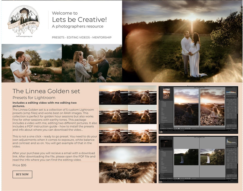 Image of Lightroom Presets-Linnea Golden set