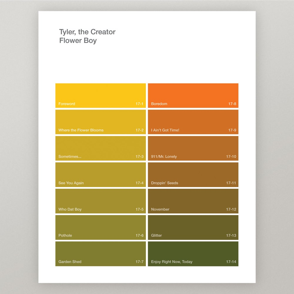 """Image of Tyler, the Creator """"Flower Boy"""" Paint Swatch Print"""