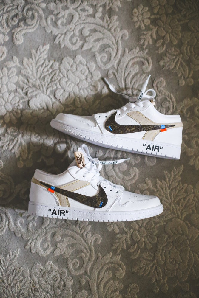 "Image of Jordan 1 low white ""lv x off-white"" inspired"