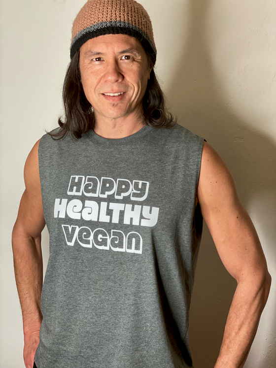 Image of HAPPY HEALTHY VEGAN UNISEX MUSCLE TEE