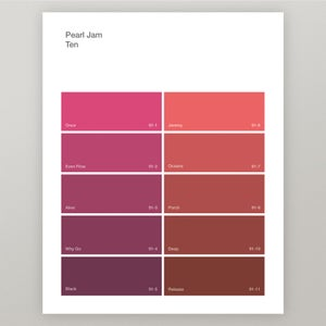 "Image of Pearl Jam ""Ten"" Paint Swatch Print"