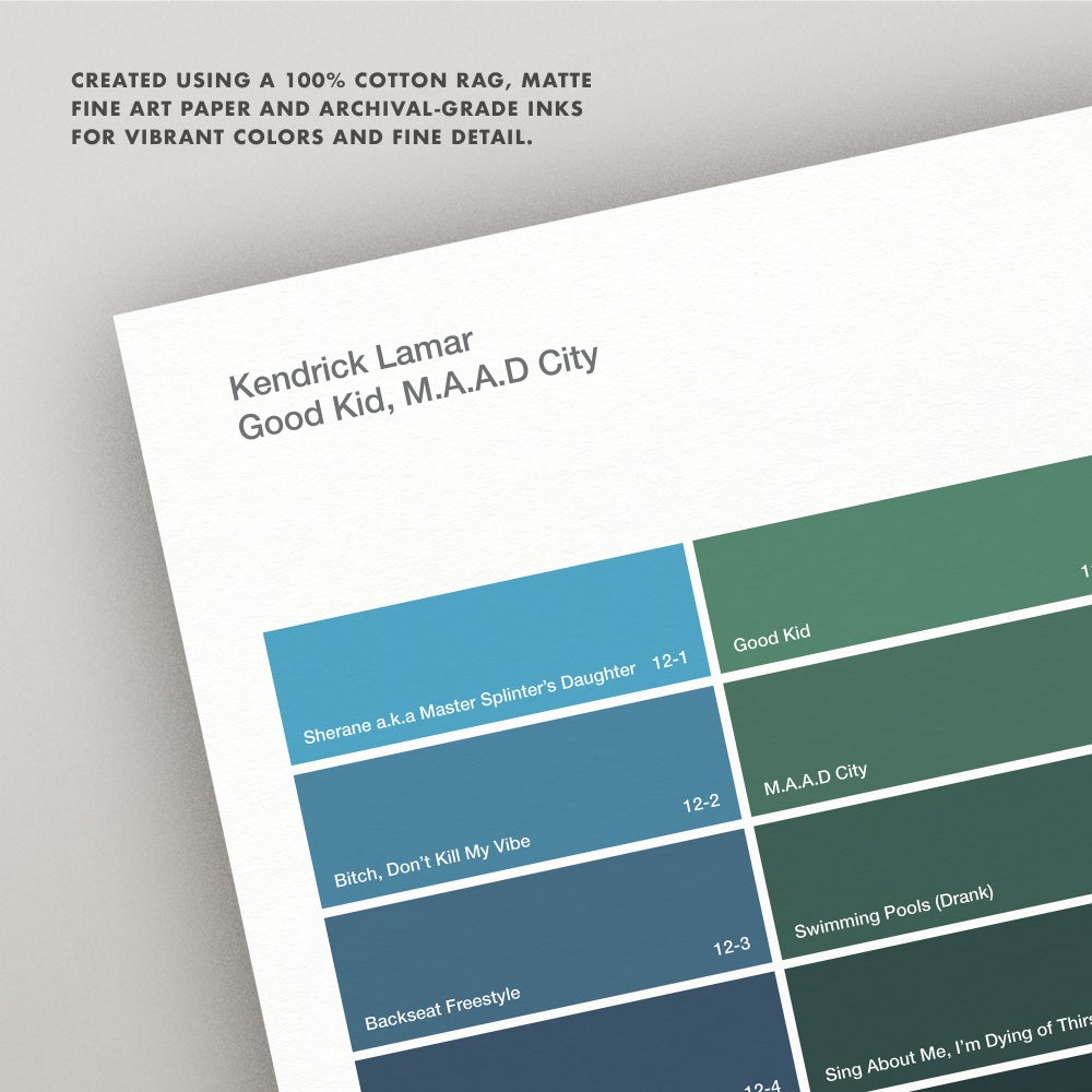 "Image of Kendrick Lamar ""Good Kid, M.A.A.D. City"" Paint Swatch Print"